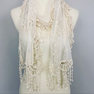 Cream lace embroidered delicate fringed scarf